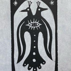 Twin Original Linoleum Print