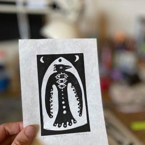 Moon Bird Linoleum Print