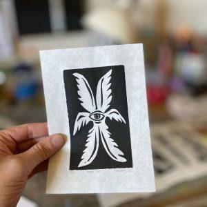 Angel Eye Original Linoleum Print
